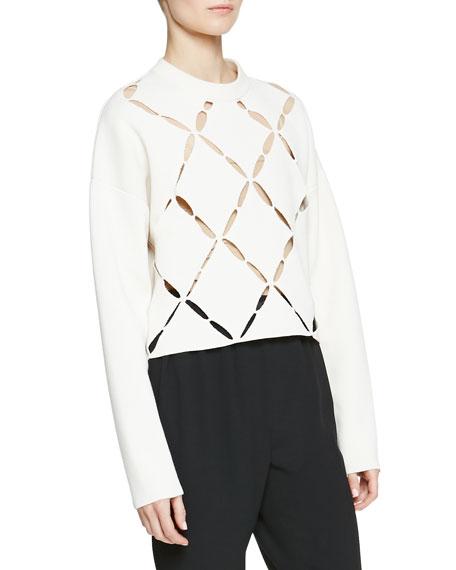 Proenza Schouler Cutout Argyle-Front Knit Sweater, Off White