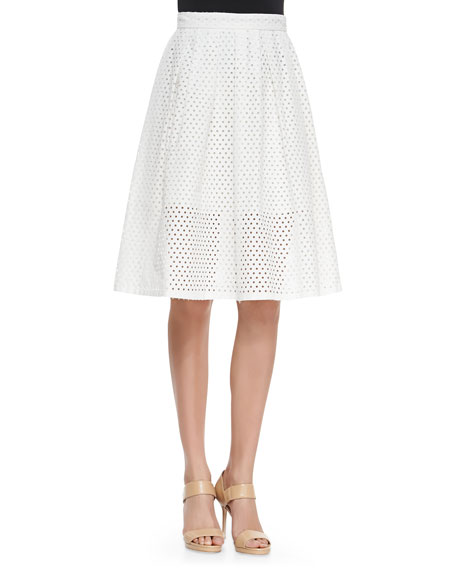 Lela Rose Mesh Pleated Full Skirt, White