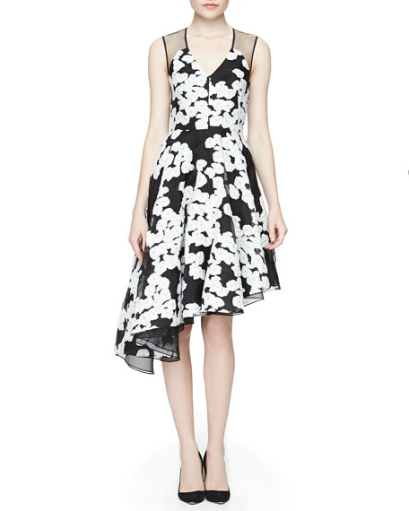 Lela Rose Floral-Print Asymmetric Ruffled Dress, Black/Ivory