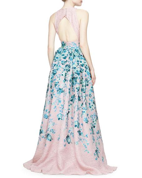 Lela Rose Keyhole Cutout-Back Floral Jacquard Gown, Blush/Blue