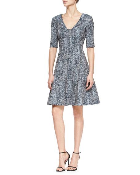 Lela Rose Reversible Elbow-Sleeve Fit-And-Flare Dress, Navy/Ivory