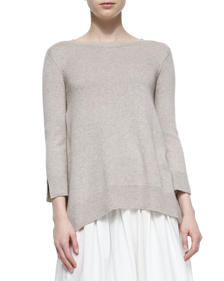 THE ROW Georgia Slit-Cuff Crewneck Sweater, Oyster Melange