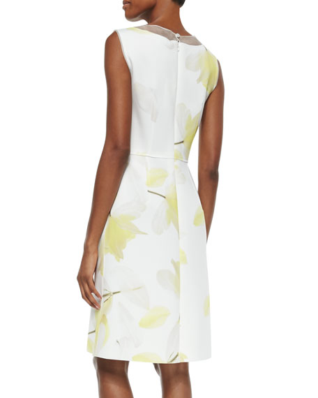 Sheer-Inset Floral-Print Dress