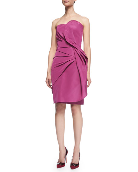Carolina Herrera Fold-Pleated Strapless Cocktail Dress, Dark Pink