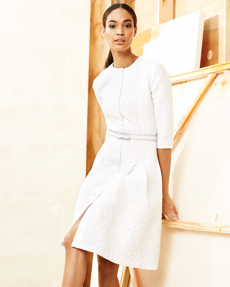 Three-Quarter-Sleeve Bubble-Jacquard Shirtdress, White