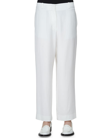 Acne Studios Flat-Front Low-Rise Cropped Pants, White