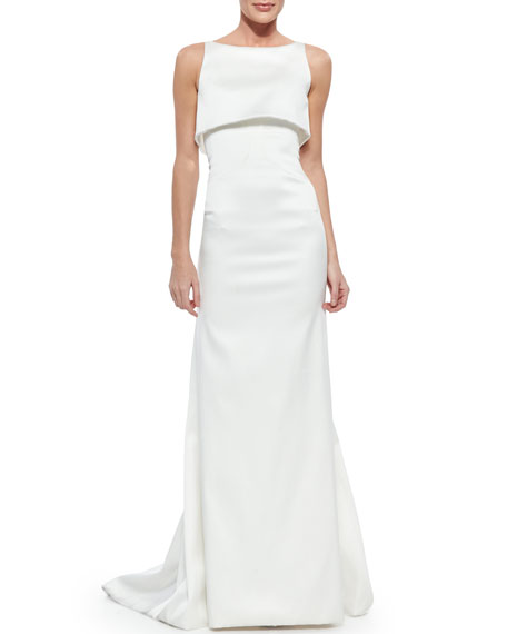 Sateen Double Layer Gown, Optic White by Zac Posen
