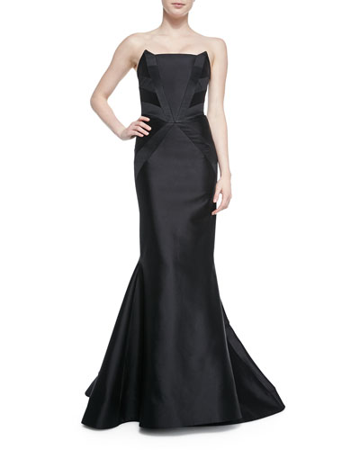 Strapless Tuxedo-Inset Gown