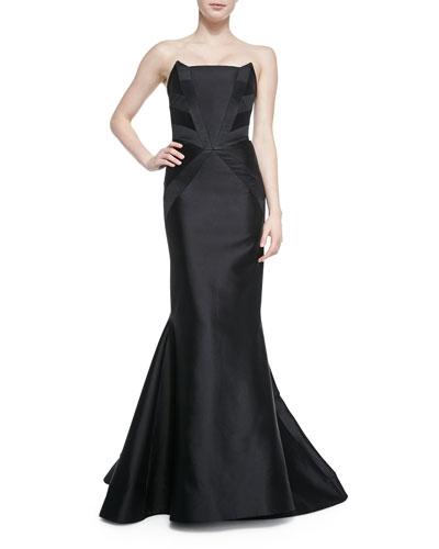 Strapless Tuxedo-Inset Gown