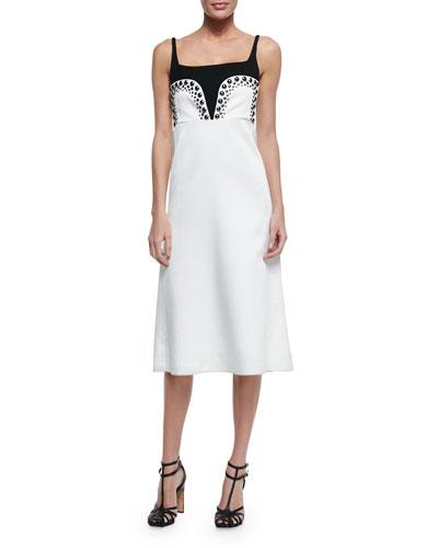 Stud-Trim Two-Tone Dress
