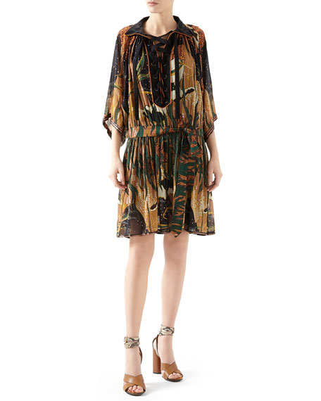 Gucci Embroidered Fantasy Print Silk Georgette Gown