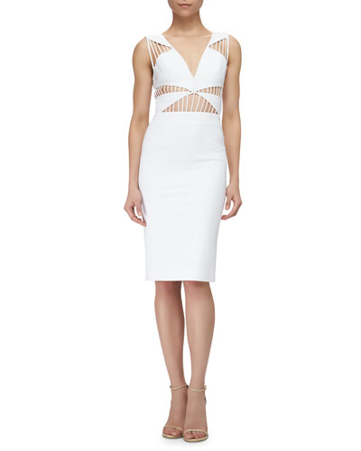 Strappy Cutout Sheath Dress, White
