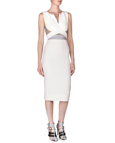 Betley Mesh-Inset Crisscross Midi Dress, White/Beige/Black