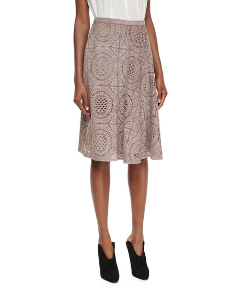 Burberry London Laser-Cut Suede Lace Pattern Skirt