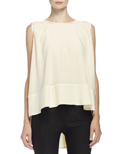Sleeveless High-Low Trapeze Top, Bone