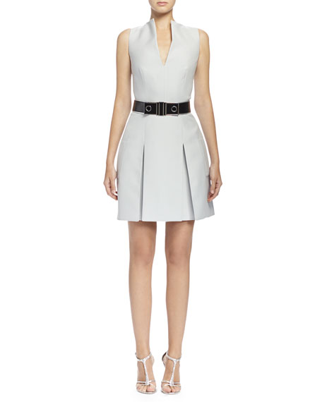 Alexander McQueen Box-Pleated Fit-and-Flare Dress, Silver Blue