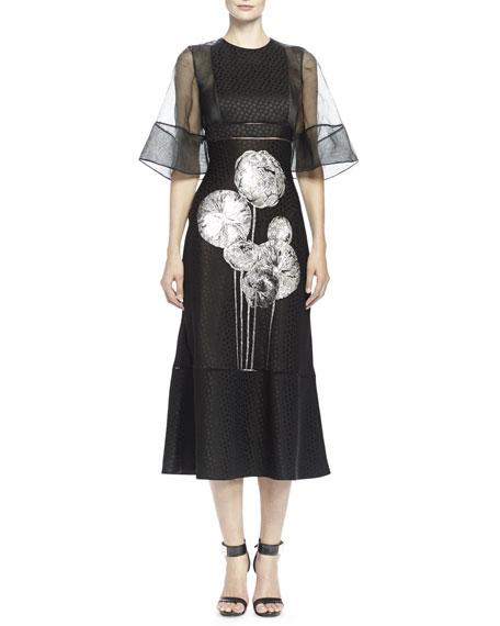Bell-Sleeve Flower-Print Jacquard Gown, Black/White