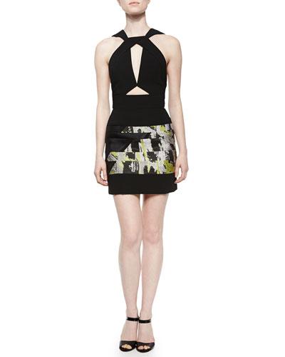Cutout Jacquard-Panel Halter Dress