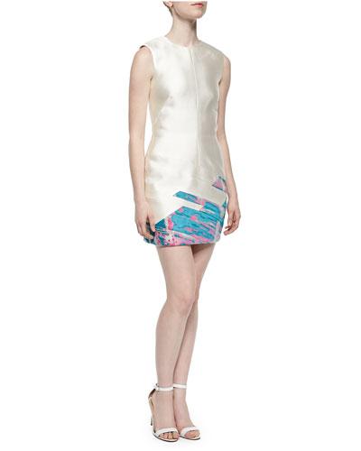 Sleeveless Jacquard-Skirt Dress