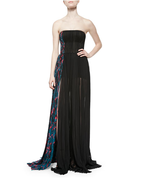 J. Mendel Side-Panel Strapless Silk Gown