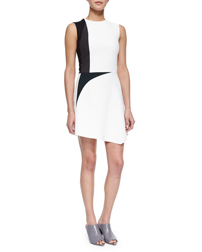 Colorblock Spike-Print Asymmetric Dress, White Multi
