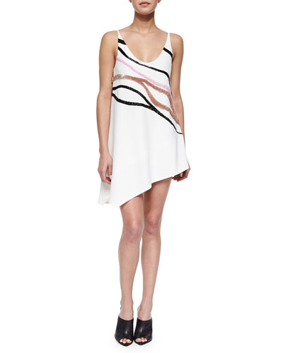 Wave-Embroidered Asymmetric Shift Dress
