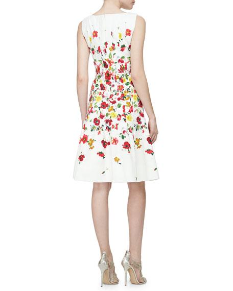 Floral-Print Darted A-Line Dress