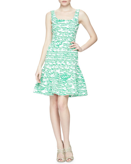 Oscar de la Renta Fish Block-Print Flounce Dress, Clover