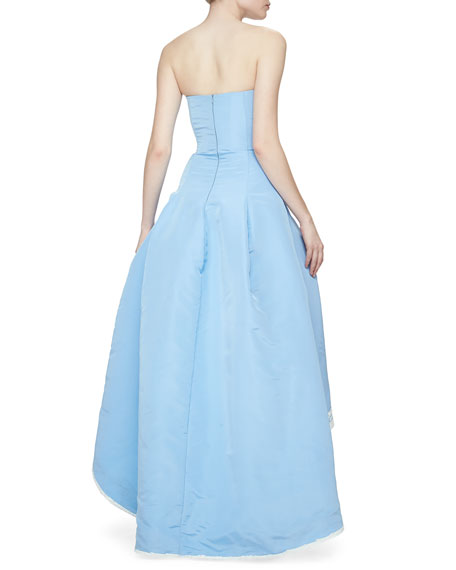 Oscar de la Renta Strapless Filigree-Embroidered High-Low Gown, Wedgewood