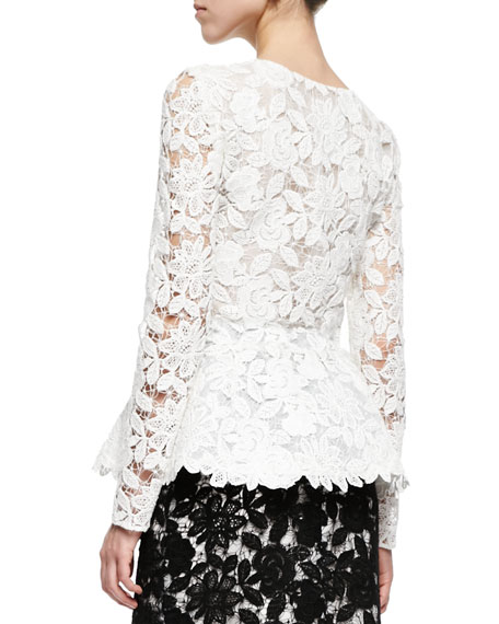 Corded Guipure Lace Peplum Jacket, White