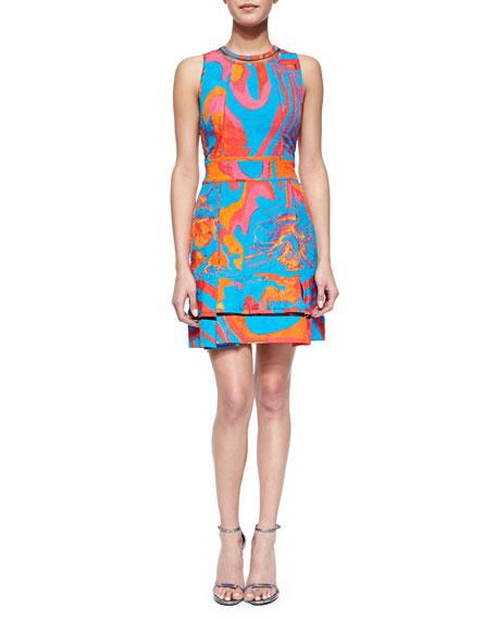 Roberto Cavalli Abstract Floral Brocade Mesh-Inset Dress