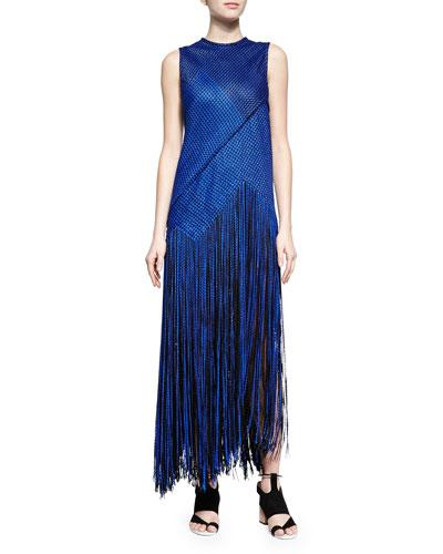 Chain-Knit Fringe-Skirt Dress, Cobalt/Black