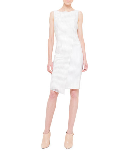 Metallic-Striped Wrap-Front Dress