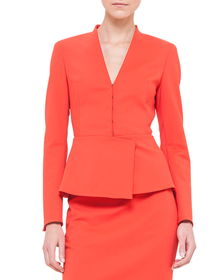 Akris Peplum Stretch-Crepe Jacket, Akai