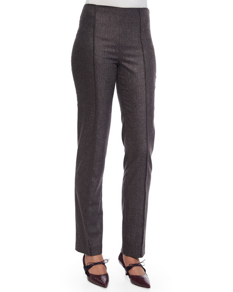 Carolina Herrera Pintucked Skinny-Fit Melange Wool Pants,