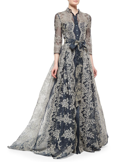 Carolina Herrera Embroidered Lace Pleated Gown Neiman Marcus