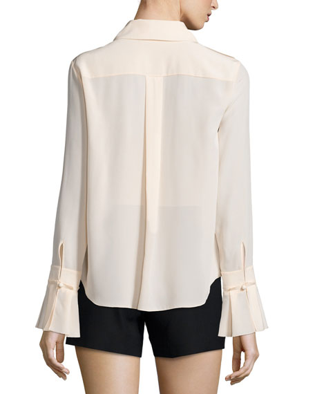 L/S RUFFLE TIE FRONT BLOUSE