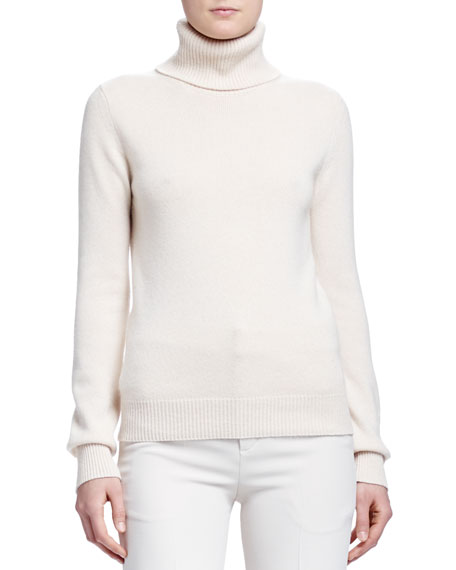 Chloe Cashmere Ribbed-Knit Turtleneck Sweater, Ivory