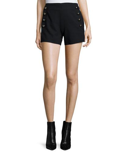 Side-Button Sailor Shorts, Black