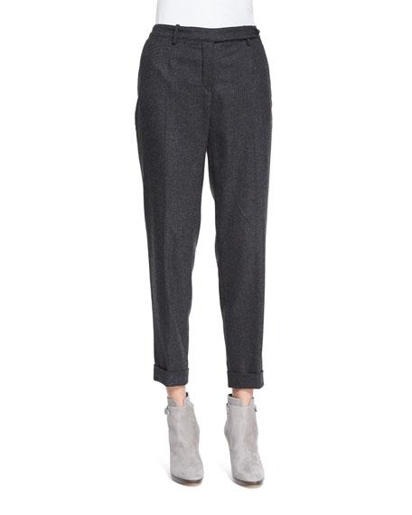 Loro Piana Jari Speckled Flannel Cuffed Pants, Dark