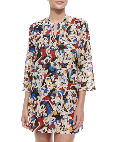 Split-Neck Tango Dancer-Print Tunic Coverup