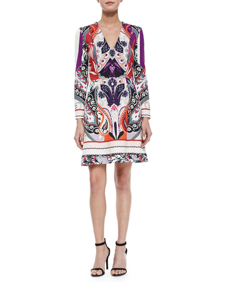 Etro V-Neck Paisley-Jacquard Fit-And-Flare Dress