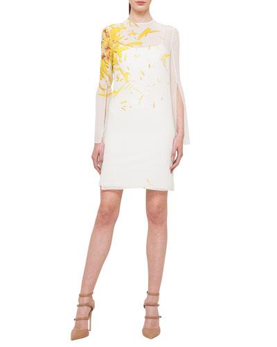 Calendula-Print Georgette Tunic Dress