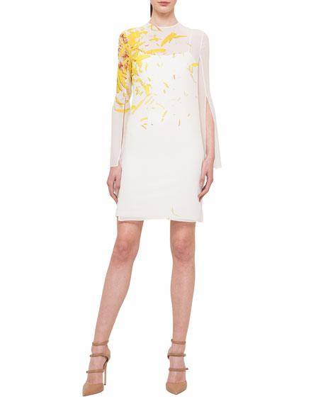 Akris Calendula-Print Georgette Tunic Dress