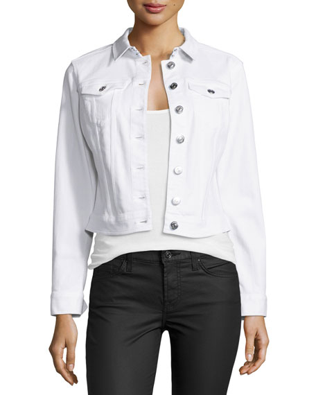 Burberry Brit Dymchurch Denim Cropped Trucker Jacket, White