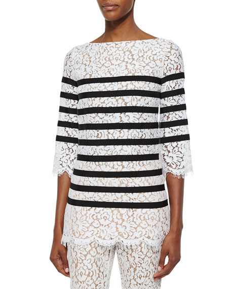 Michael Kors Collection 3/4-Sleeve Striped Floral-Lace Blouse
