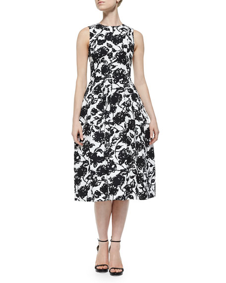 Michael Kors Collection Floral-Print Bell-Skirt Midi Dress