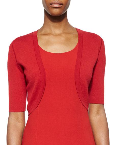 Michael Kors Collection Merino Wool Half-Sleeve Shrug, Crimson