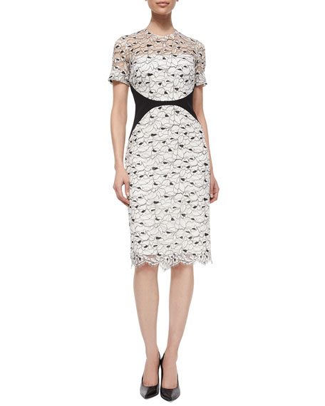 Lela Rose Short-Sleeve Lace Sheath Dress, Ivory/Black