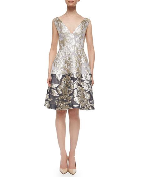 Lela Rose Sleeveless Fit-&-Flare Dress, Gold/Ivory
